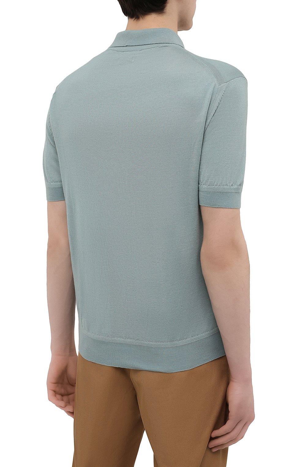 Мужское поло из кашемира и шелка TOM FORD бирюзового цвета, арт. BWH99/TFKC32 | Фото 4