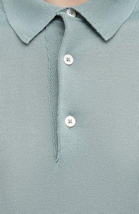 Мужское поло из кашемира и шелка TOM FORD бирюзового цвета, арт. BWH99/TFKC32 | Фото 5