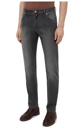Мужские джинсы KITON серого цвета, арт. UPNJS/J06T94 | Фото 3 (Силуэт М (брюки): Прямые; Длина (брюки, джинсы): Стандартные; Материал внешний: Хлопок, Деним; Стили: Кэжуэл)