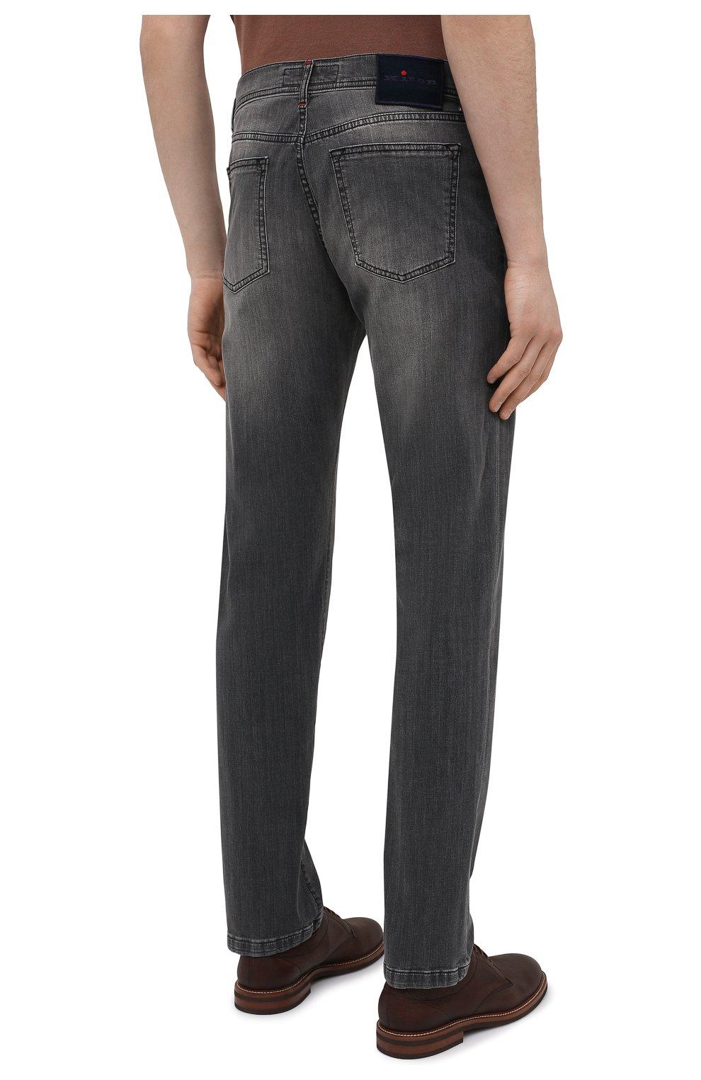 Мужские джинсы KITON серого цвета, арт. UPNJS/J06T94 | Фото 4 (Силуэт М (брюки): Прямые; Длина (брюки, джинсы): Стандартные; Материал внешний: Хлопок, Деним; Стили: Кэжуэл)