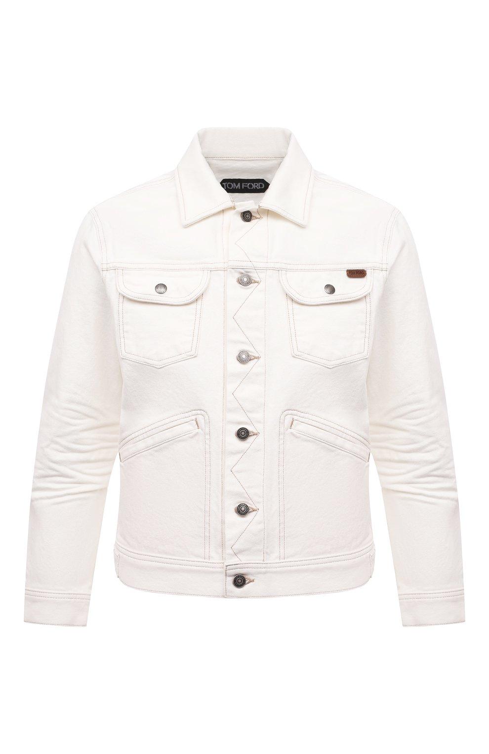 Мужская джинсовая куртка TOM FORD белого цвета, арт. BWJ32/TFD116 | Фото 1