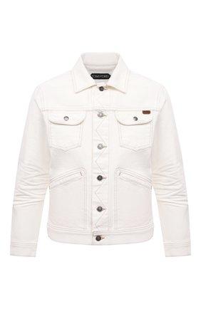 Мужская джинсовая куртка TOM FORD белого цвета, арт. BWJ32/TFD116 | Фото 1 (Стили: Кэжуэл; Рукава: Длинные; Кросс-КТ: Куртка; Длина (верхняя одежда): Короткие; Материал внешний: Хлопок, Деним)