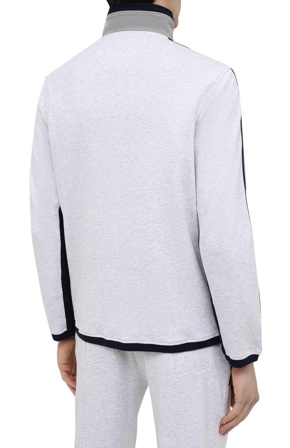 Мужской хлопковая толстовка BRUNELLO CUCINELLI серого цвета, арт. M0T359156G   Фото 4