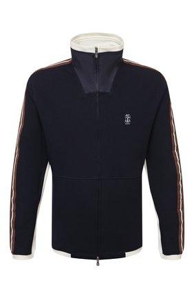 Мужской хлопковая толстовка BRUNELLO CUCINELLI синего цвета, арт. M0T359156G | Фото 1 (Рукава: Длинные; Стили: Спорт-шик; Длина (для топов): Стандартные; Мужское Кросс-КТ: Толстовка-одежда; Материал внешний: Хлопок)
