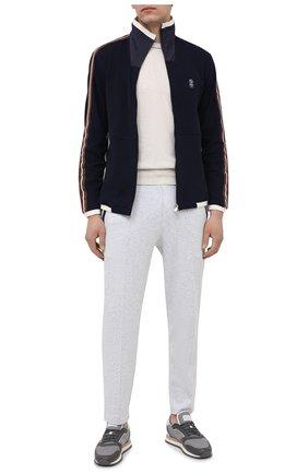 Мужской хлопковая толстовка BRUNELLO CUCINELLI синего цвета, арт. M0T359156G | Фото 2 (Рукава: Длинные; Стили: Спорт-шик; Длина (для топов): Стандартные; Мужское Кросс-КТ: Толстовка-одежда; Материал внешний: Хлопок)