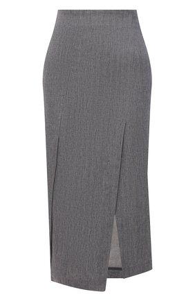 Женская льняная юбка BRUNELLO CUCINELLI серого цвета, арт. MH507G3057 | Фото 1