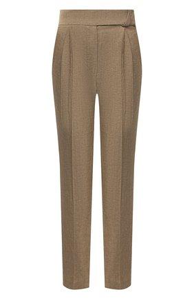 Женские брюки из шерсти и льна BRUNELLO CUCINELLI коричневого цвета, арт. MF509P7599 | Фото 1