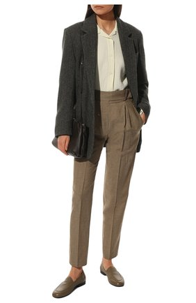 Женские брюки из шерсти и льна BRUNELLO CUCINELLI коричневого цвета, арт. MF509P7599 | Фото 2