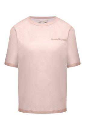 Женская шелковая футболка ALEXANDER MCQUEEN светло-розового цвета, арт. 654002/QLAAA | Фото 1 (Длина (для топов): Стандартные; Женское Кросс-КТ: Футболка-одежда; Материал подклада: Хлопок; Рукава: Короткие; Принт: С принтом; Стили: Романтичный; Материал внешний: Шелк)