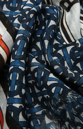 Женский шарф из шелка и шерсти BURBERRY голубого цвета, арт. 8039622 | Фото 2