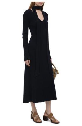 Женские кожаные босоножки gaile CHLOÉ коричневого цвета, арт. CHC21S409L4   Фото 2 (Материал внутренний: Натуральная кожа; Каблук тип: Устойчивый; Каблук высота: Средний; Подошва: Плоская)
