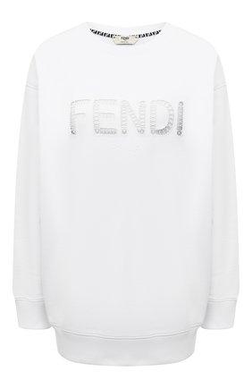 Женский хлопковый свитшот FENDI белого цвета, арт. FS7248 AFLC | Фото 1