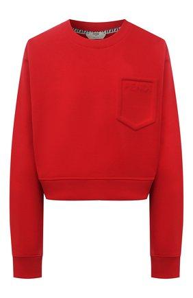 Женский хлопковый свитшот FENDI красного цвета, арт. FS7427 AFLB   Фото 1