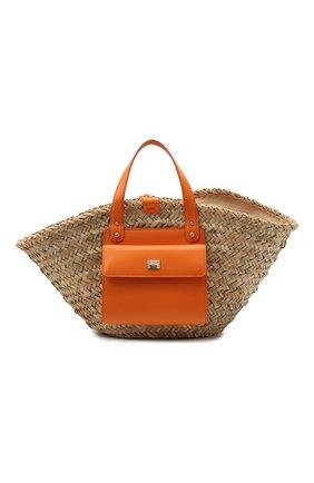 Женский сумка-шопер kendra DOLCE & GABBANA оранжевого цвета, арт. BB5888/A0698 | Фото 1 (Материал: Растительное волокно; Сумки-технические: Сумки-шопперы; Размер: large)