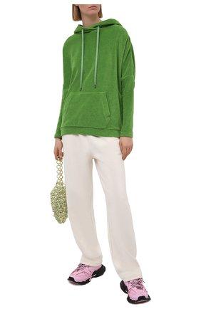Женский хлопковое худи TOM FORD зеленого цвета, арт. FLJ009-FAX830 | Фото 2 (Стили: Спорт-шик; Рукава: Длинные; Длина (для топов): Стандартные; Женское Кросс-КТ: Худи-одежда; Материал внешний: Хлопок)