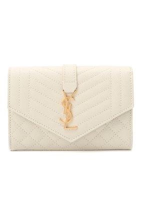 Женские кожаное портмоне classic SAINT LAURENT белого цвета, арт. 651026/B0W91 | Фото 1
