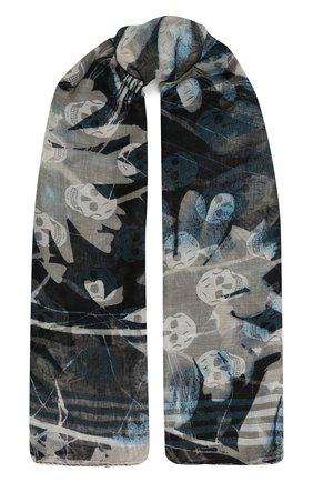 Женская шаль ALEXANDER MCQUEEN темно-синего цвета, арт. 658409/3D29Q | Фото 1 (Принт: С принтом; Материал: Текстиль)