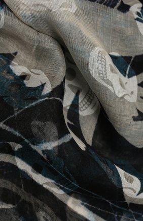 Женская шаль ALEXANDER MCQUEEN темно-синего цвета, арт. 658409/3D29Q | Фото 2 (Принт: С принтом; Материал: Текстиль)