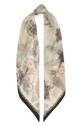 Женский шелковый платок ALEXANDER MCQUEEN серого цвета, арт. 657761/3060Q | Фото 1