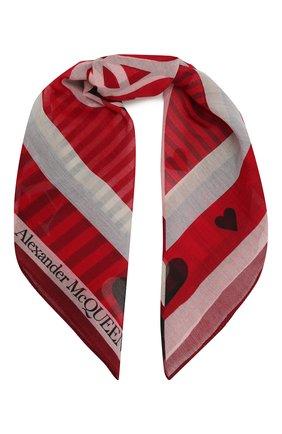 Женский хлопковый платок ALEXANDER MCQUEEN красного цвета, арт. 657180/3624Q | Фото 1