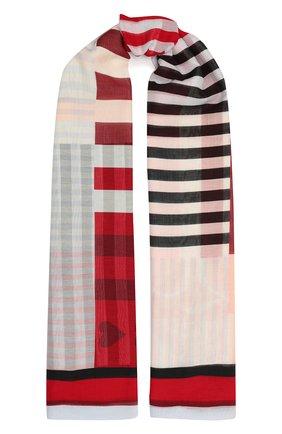 Женская хлопковая шаль ALEXANDER MCQUEEN красного цвета, арт. 656552/3624Q | Фото 1 (Материал: Хлопок, Текстиль; Принт: С принтом)