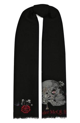 Женский шарф из шерсти и шелка ALEXANDER MCQUEEN черного цвета, арт. 645576/3D06Q | Фото 1 (Материал: Шерсть; Принт: С принтом)