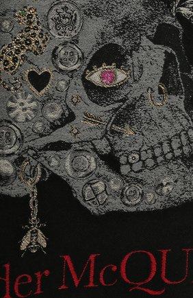 Женский шарф из шерсти и шелка ALEXANDER MCQUEEN черного цвета, арт. 645576/3D06Q | Фото 2 (Материал: Шерсть; Принт: С принтом)