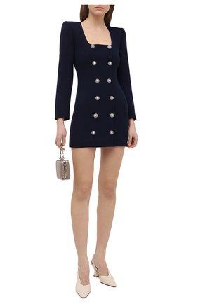 Женское шерстяное платье ALESSANDRA RICH темно-синего цвета, арт. FAB2358-F3190 | Фото 2