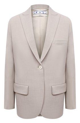 Женский жакет OFF-WHITE серого цвета, арт. 0WEF064S21FAB002 | Фото 1 (Материал внешний: Шерсть, Синтетический материал; Длина (для топов): Удлиненные; Стили: Кэжуэл; Случай: Повседневный; Материал подклада: Вискоза; 1-2-бортные: Однобортные; Женское Кросс-КТ: Жакет-одежда; Рукава: Длинные)