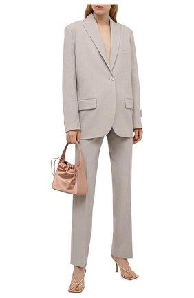 Женский жакет OFF-WHITE серого цвета, арт. 0WEF064S21FAB002 | Фото 2 (Материал внешний: Шерсть, Синтетический материал; Длина (для топов): Удлиненные; Стили: Кэжуэл; Случай: Повседневный; Материал подклада: Вискоза; 1-2-бортные: Однобортные; Женское Кросс-КТ: Жакет-одежда; Рукава: Длинные)