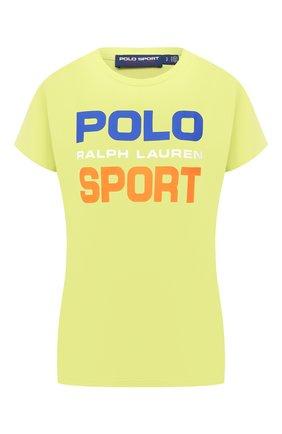 Женская хлопковая футболка POLO RALPH LAUREN желтого цвета, арт. 211838079   Фото 1