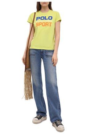 Женская хлопковая футболка POLO RALPH LAUREN желтого цвета, арт. 211838079   Фото 2