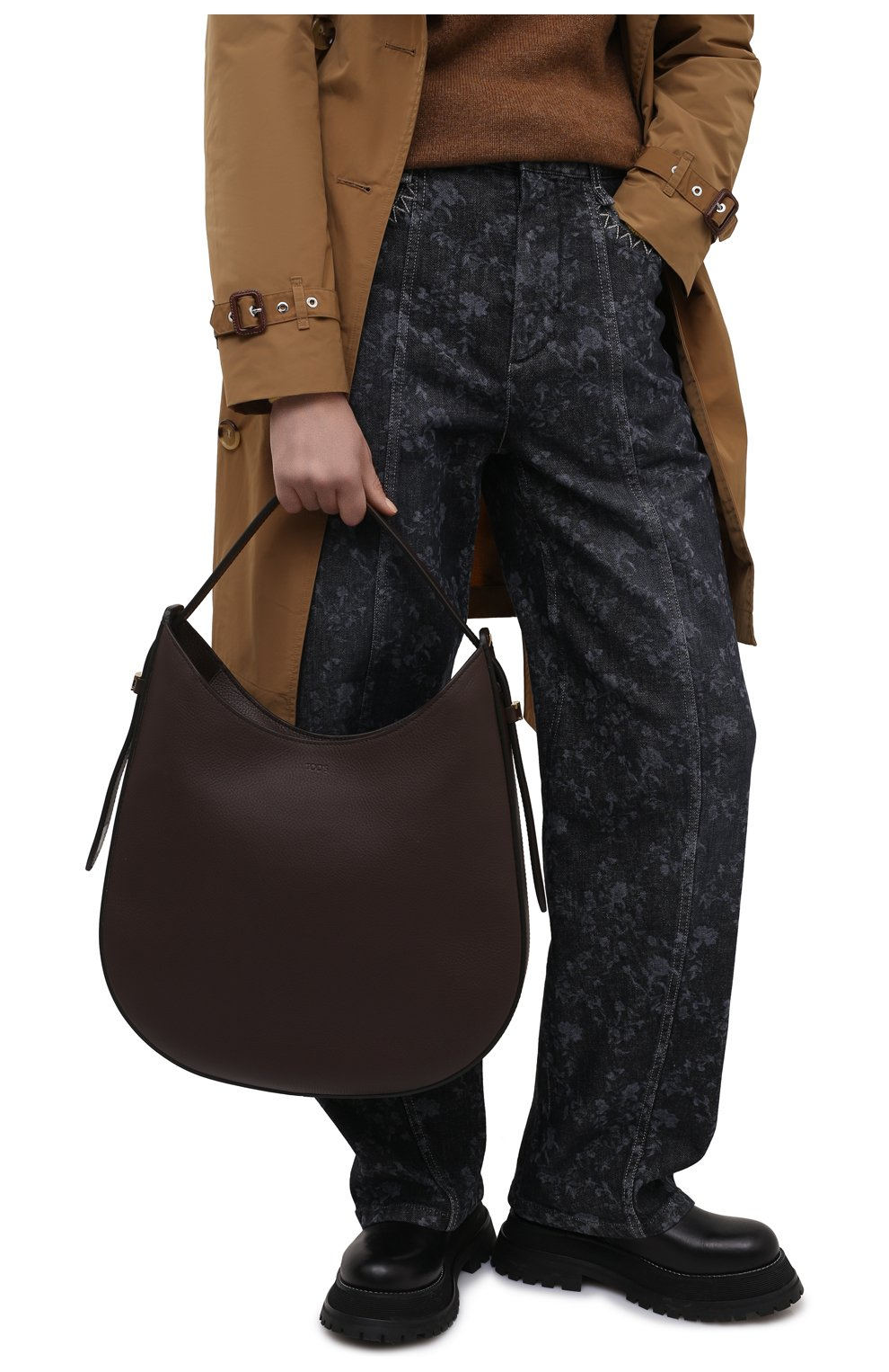 Женская сумка oboe TOD'S темно-коричневого цвета, арт. XBWA0RS0300P6Y | Фото 2 (Сумки-технические: Сумки top-handle; Материал: Натуральная кожа; Размер: large)