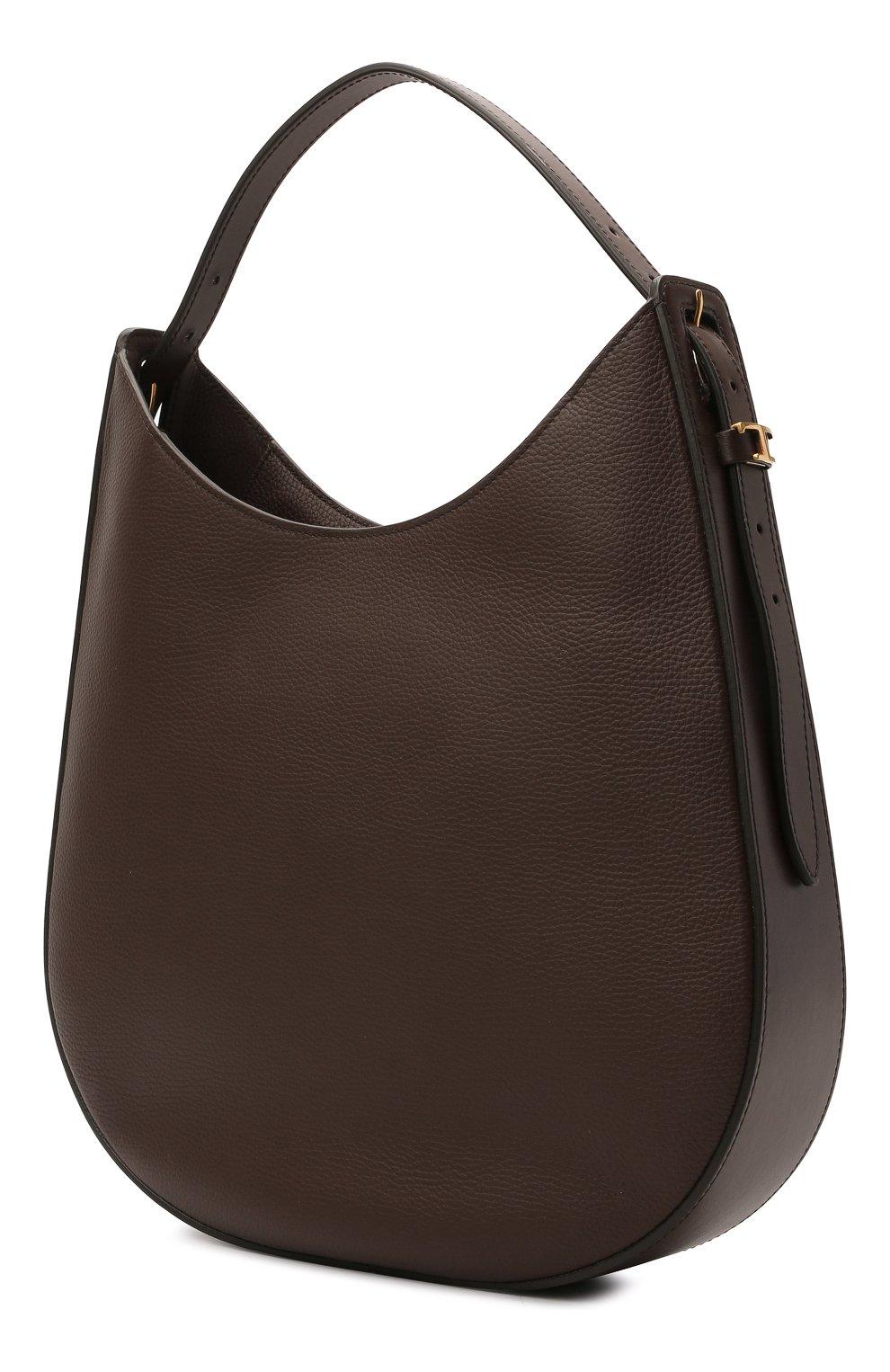 Женская сумка oboe TOD'S темно-коричневого цвета, арт. XBWA0RS0300P6Y | Фото 3 (Сумки-технические: Сумки top-handle; Материал: Натуральная кожа; Размер: large)