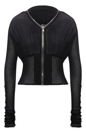 Женский шелковый жакет RICK OWENS черного цвета, арт. RP21S3724/G | Фото 1
