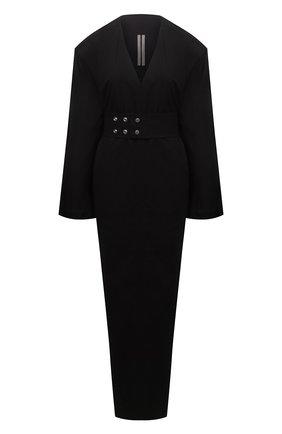 Женское хлопковое платье RICK OWENS черного цвета, арт. RP21S3576/PJ   Фото 1