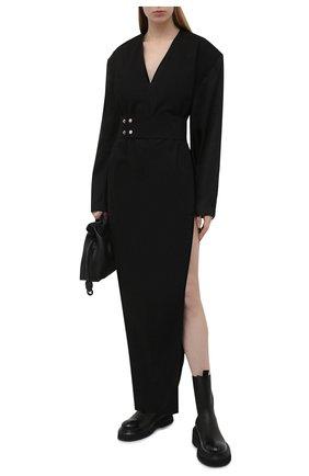 Женское хлопковое платье RICK OWENS черного цвета, арт. RP21S3576/PJ   Фото 2