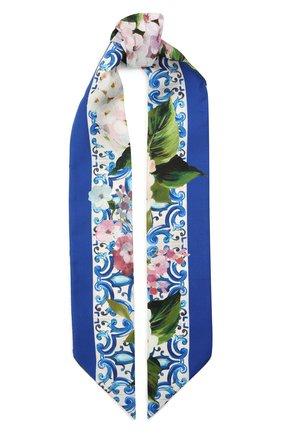Женский хлопковый шарф-бандо DOLCE & GABBANA голубого цвета, арт. FS215A/G0TFX | Фото 1