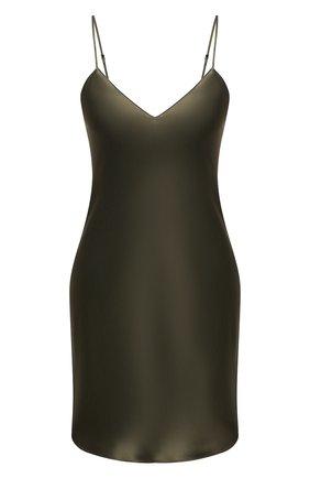 Женская шелковая сорочка SIMONEPERELE хаки цвета, арт. 15B940 | Фото 1