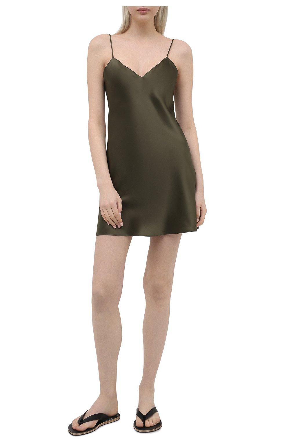 Женская шелковая сорочка SIMONEPERELE хаки цвета, арт. 15B940 | Фото 2