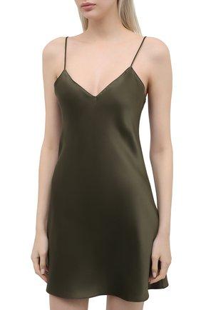 Женская шелковая сорочка SIMONEPERELE хаки цвета, арт. 15B940 | Фото 3