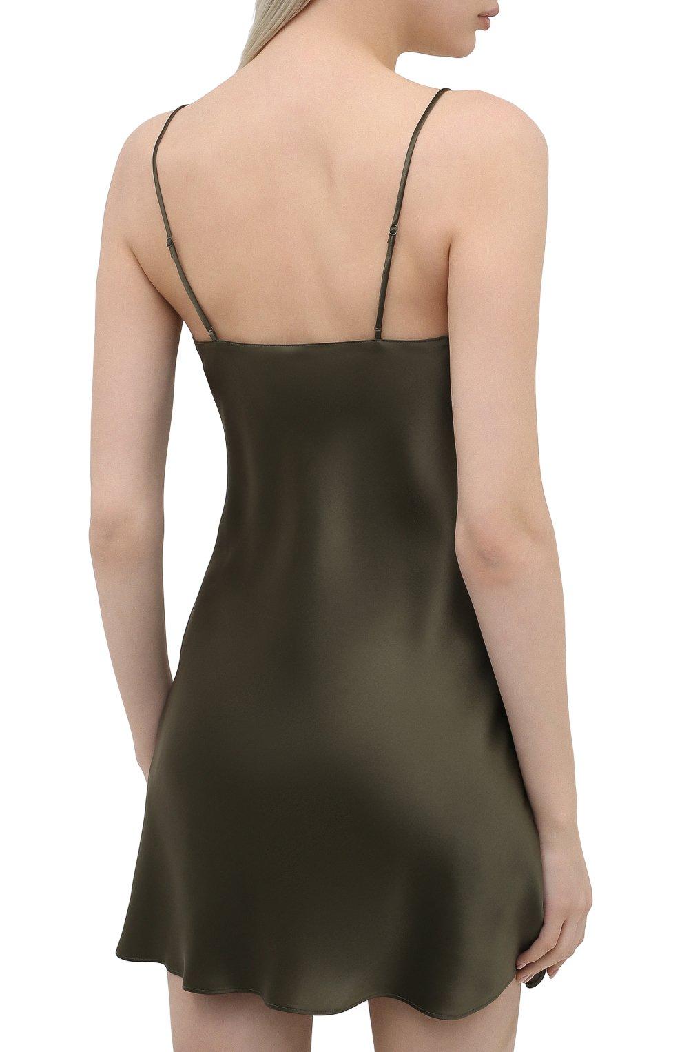 Женская шелковая сорочка SIMONEPERELE хаки цвета, арт. 15B940 | Фото 4