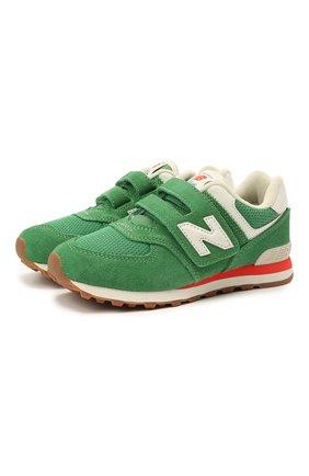 Детские кроссовки 574 vintage brights NEW BALANCE зеленого цвета, арт. PV574HE2/M   Фото 1