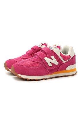 Детские кроссовки 574 vintage brights NEW BALANCE розового цвета, арт. PV574HP2/M | Фото 1