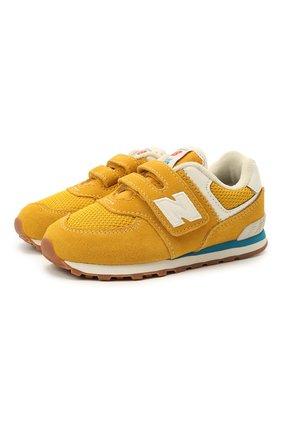 Детские кроссовки 574 vintage brights NEW BALANCE желтого цвета, арт. IV574HB2/M   Фото 1
