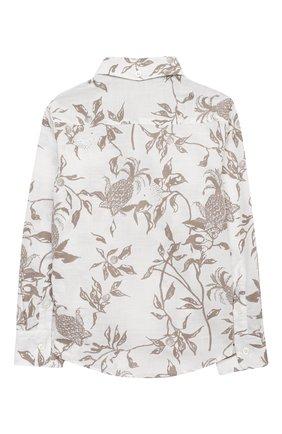 Детская хлопковая рубашка BRUNELLO CUCINELLI бежевого цвета, арт. BW639C320B | Фото 2 (Материал внешний: Хлопок; Случай: Повседневный; Рукава: Длинные; Ростовка одежда: 10 - 11 лет | 140 - 146см, 8 лет | 128 см)