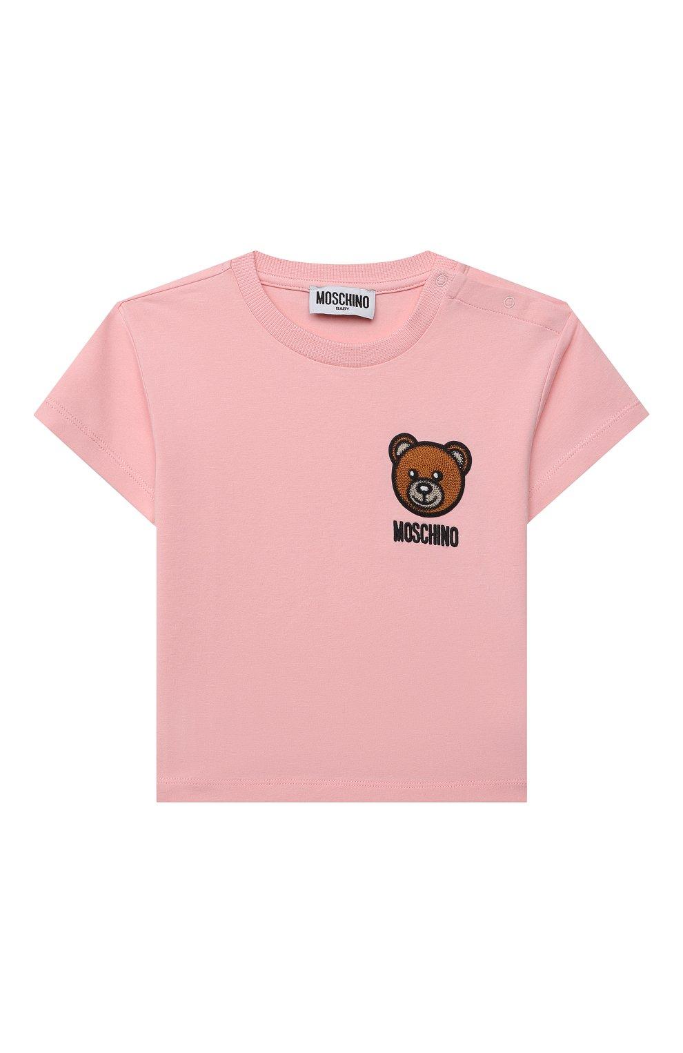 Детский хлопковая футболка MOSCHINO розового цвета, арт. MUM02E/LBA10 | Фото 1