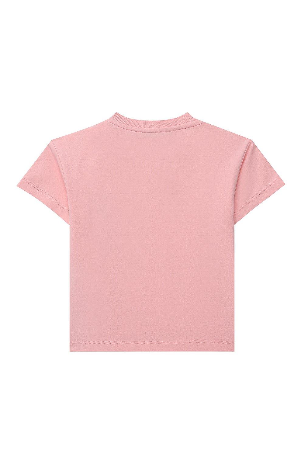 Детский хлопковая футболка MOSCHINO розового цвета, арт. MUM02E/LBA10 | Фото 2