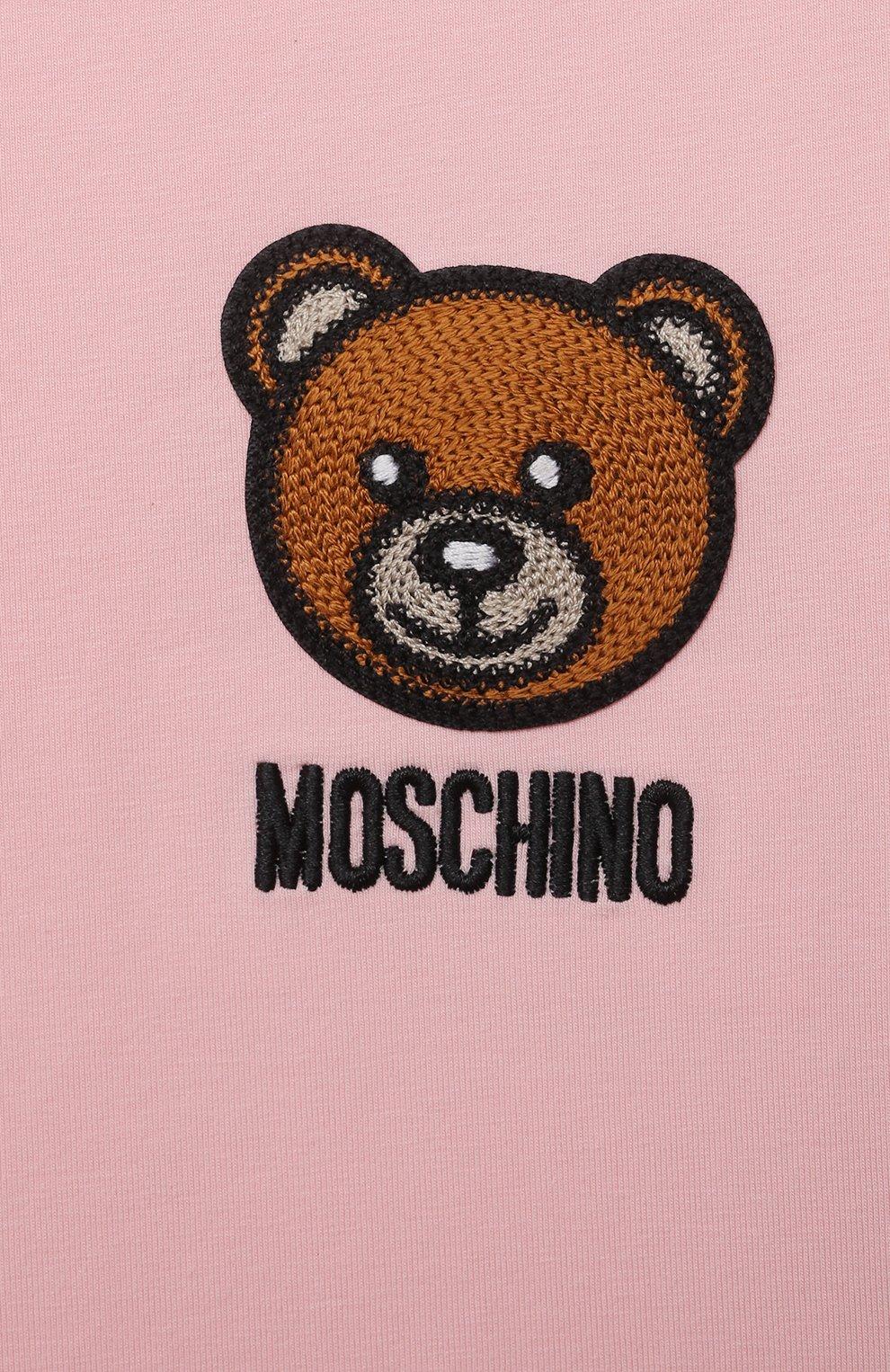 Детский хлопковая футболка MOSCHINO розового цвета, арт. MUM02E/LBA10 | Фото 3