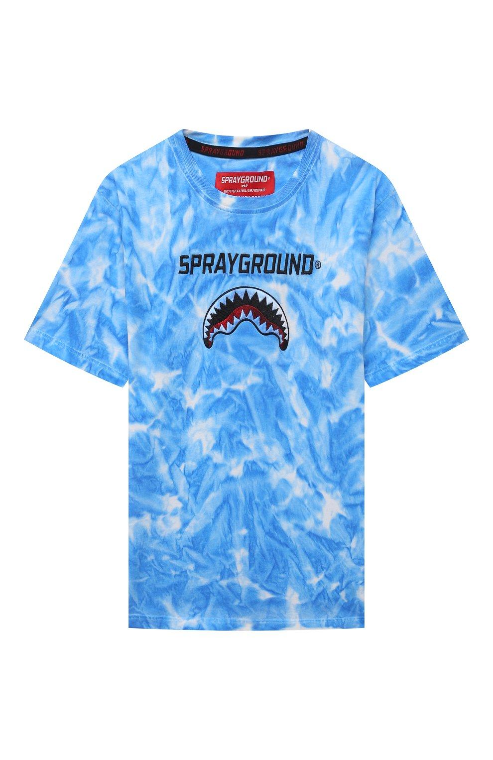 Детская хлопковая футболка SPRAYGROUND синего цвета, арт. 21PESPY181   Фото 1